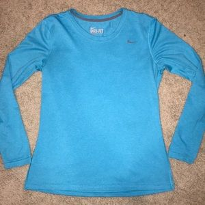 light blue Nike Dry Fit long sleeve